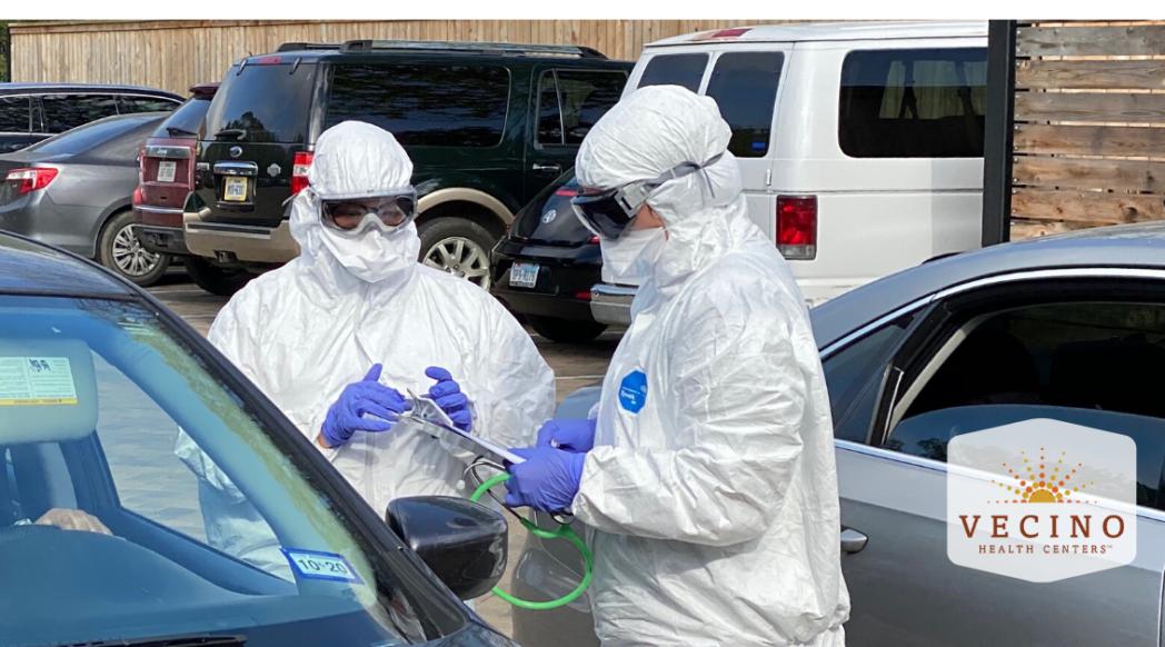 COVID-19 screening at testing at Vecino's Denver Harbor Family Clinic